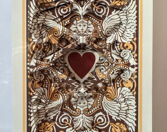 Lonely Heart No.201598 U.S. Aztek / altered playing card deck / paper sculpture