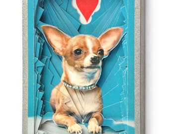 Lonely Heart No.201542 Chihuahua / altered vintage playing card deck / paper sculpture