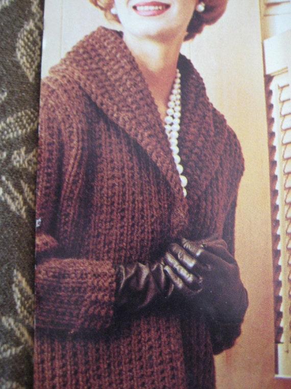 Items similar to Knit Sweater Pattern, Ladies' Long Coat ...