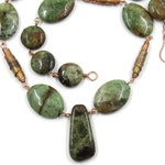 African green opal necklace with green garnet drop and handmade copper beads - handmade copper necklace with green stones - linked necklace