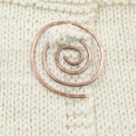 Copper spiral shawl pin - hand forged copper shawl pin - hammered copper spiral pin for shawl or sweater closure