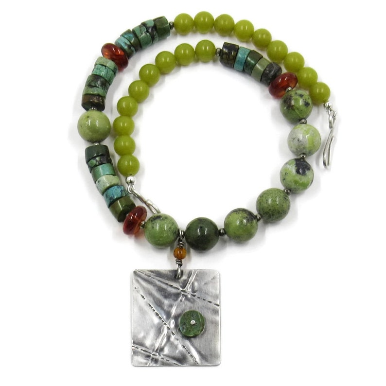Turquoise serpentine & amber necklace w/ silver pendant  image 0
