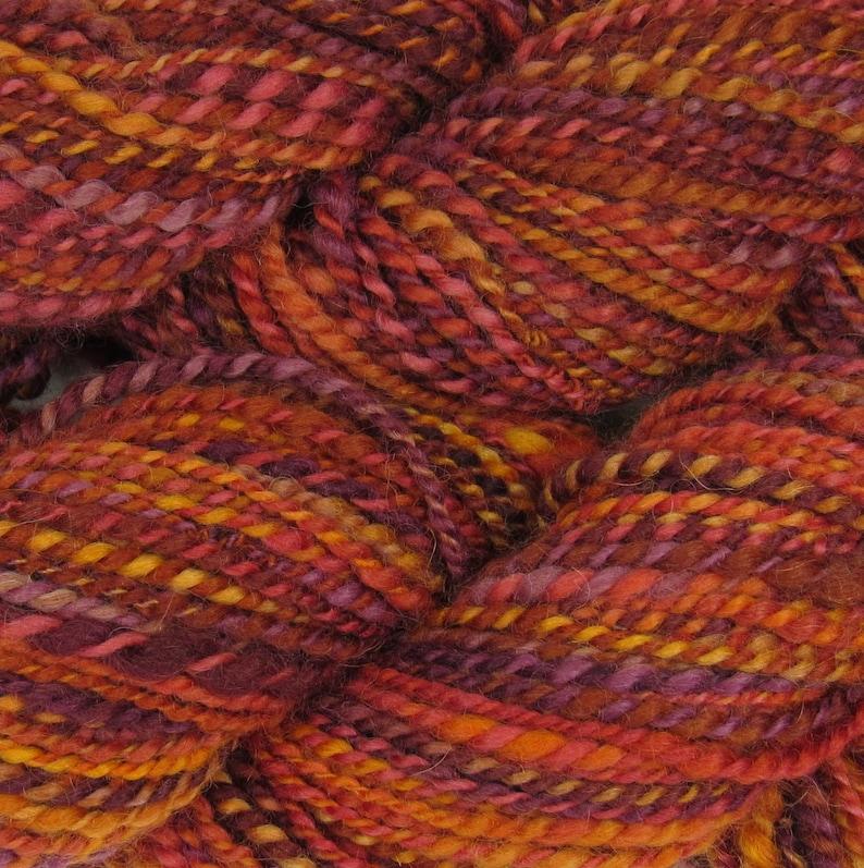 locally sourced michigan local wool red multicolor orange yellow Handspun yarn 2-ply woolalpaca blend Truffula Trees