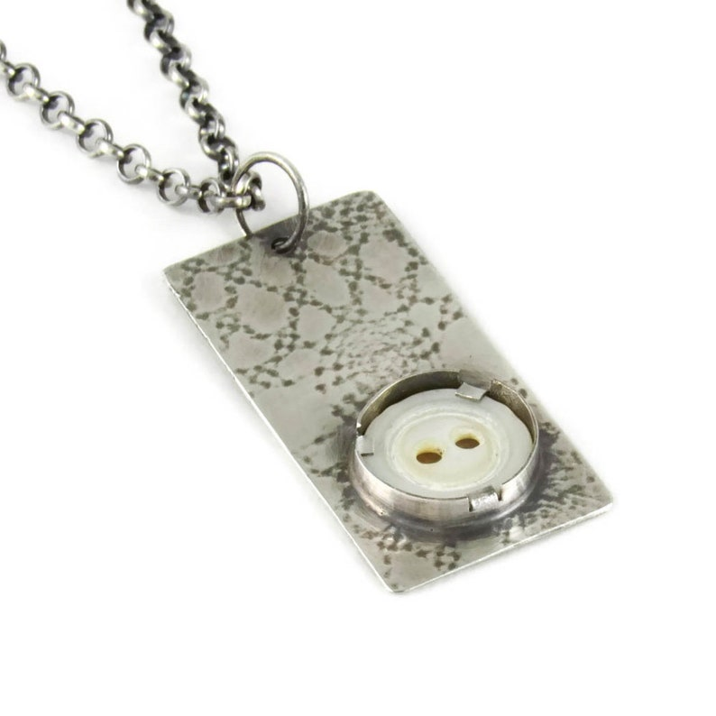 Handmade sterling silver pendant with 1/2 vintage mother image 0