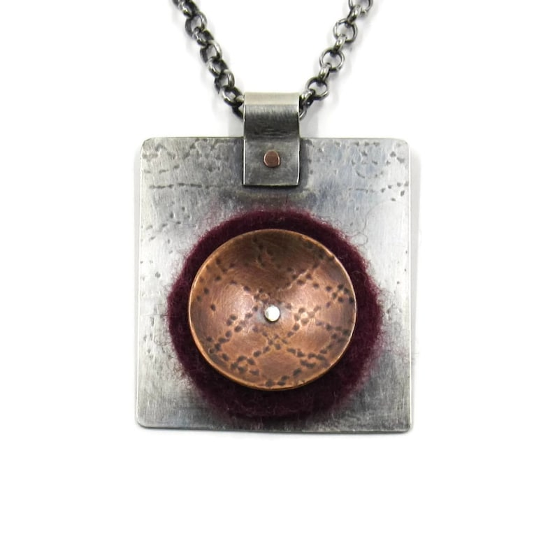 Handmade silver copper and wool felt pendant  jewelry for image 0