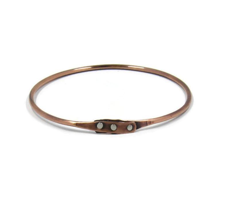 Copper bangle with silver rivets  handmade copper bracelet  image 0