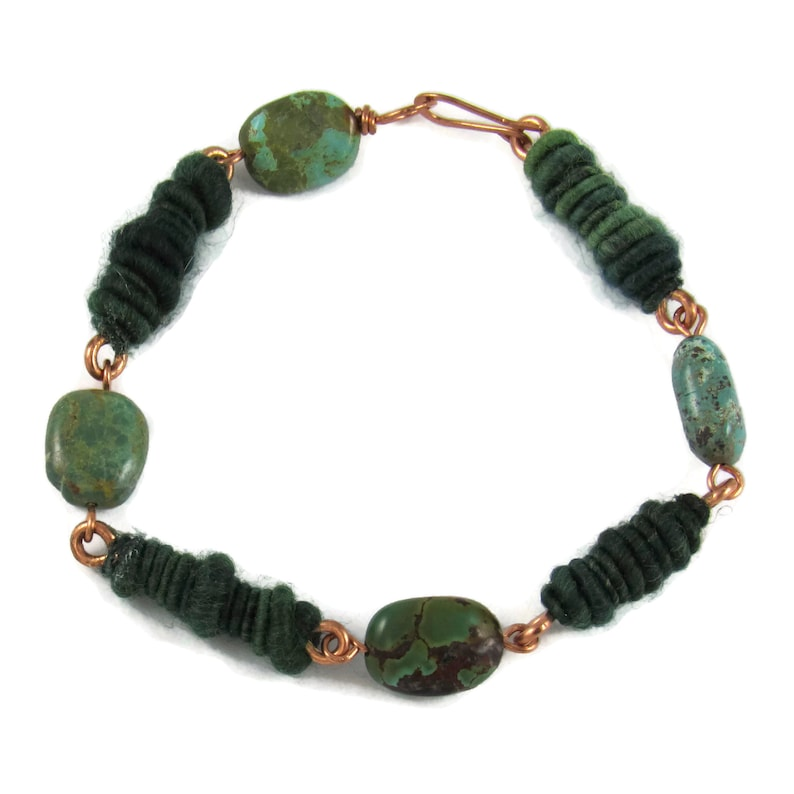 Handmade turquoise and copper bracelet with handspun yarn  image 0
