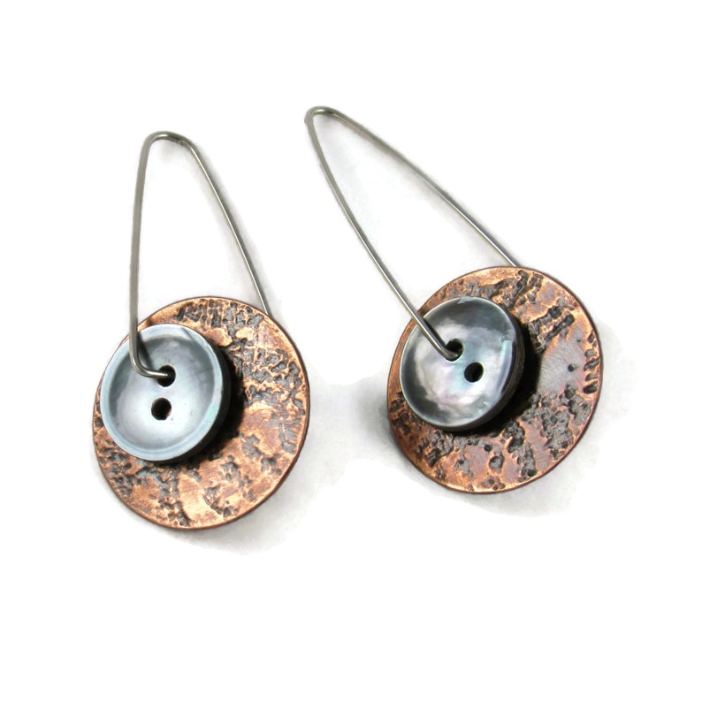 Handmade copper earrings with 1/2 vintage smoky mother image 0