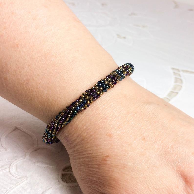 Peyote stitch bangle with metallic seed beads circa 1990 image 0