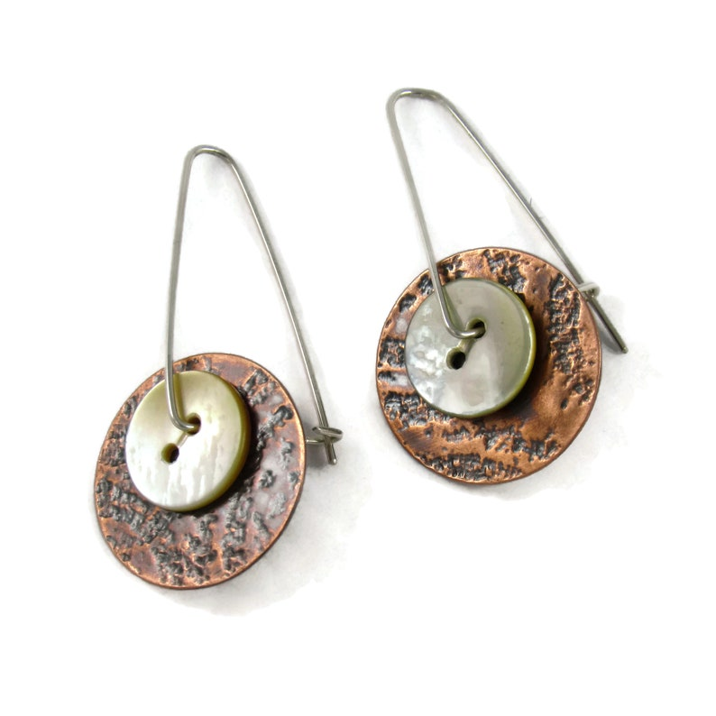 Handmade copper earrings with 1/2 vintage creamy white image 1
