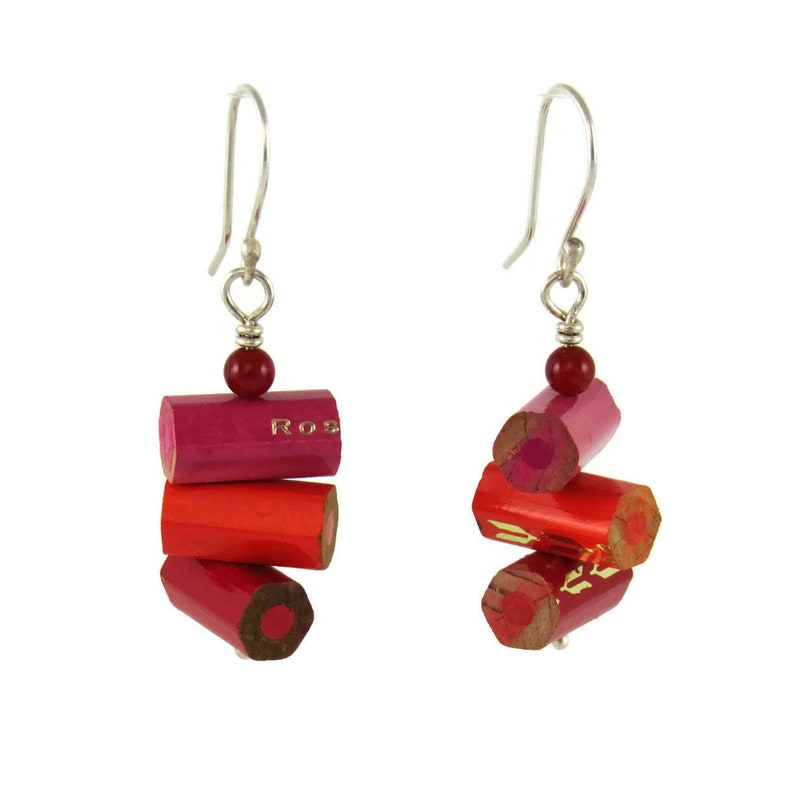 Handmade found object earrings with pink orange and red image 0