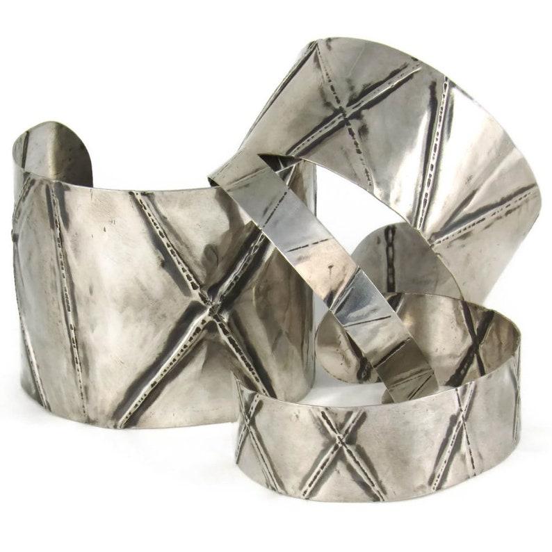 Foldformed sterling silver cuffs in 4 widths  silver image 0