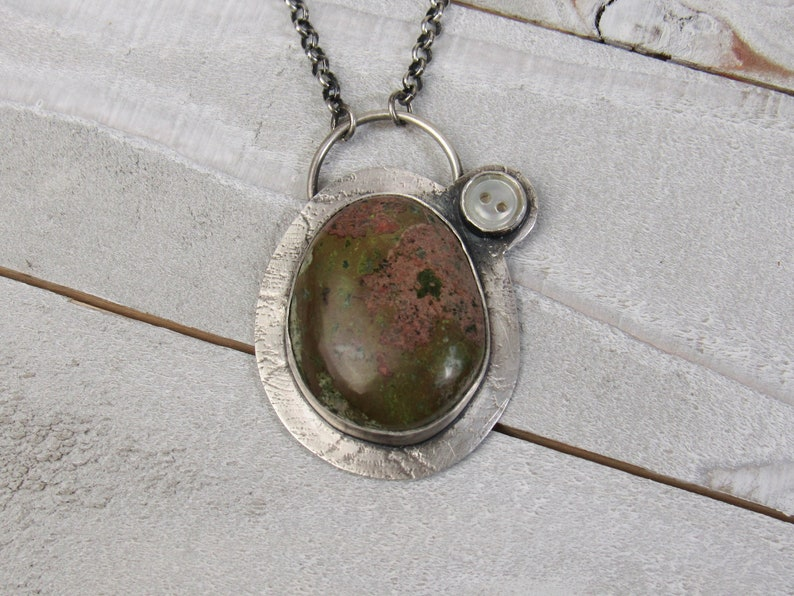 Handmade Upper Peninsula copper ore cabochon and sterling image 0