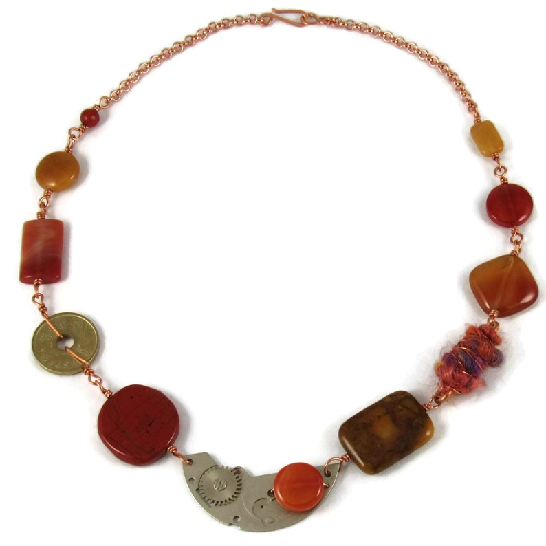 Handmade found object necklace with jasper and agate linked on image 0