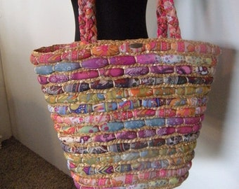 Vintage Cappelli ~ Colorful Woven Straw tote ~ Pattern Fabric and Wicket large Market Bag ~ BOHO