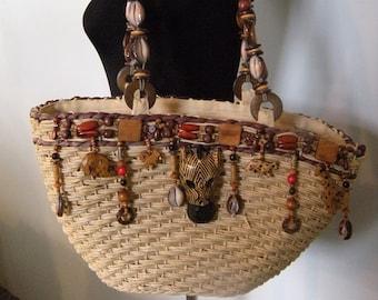 Vintage Cappelli Market Bag / tote ~ Exotic Animals ~ Beaded ~ shells ~ Carved wood ~ Zebra ~ Jungalow