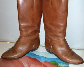 d928b7b3a Vintage Etienne Aigner Leather Boots ~ Riding Boots ~ Rich Caramel Brown  Size 7