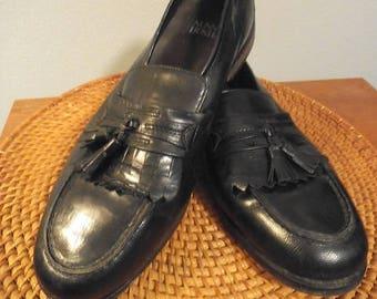 Vintage Nunn Bush Dress Flex ~ Black Tassel Leather Loafers Men's Size 10 1/2