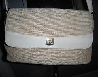 Vintage Etienne Aigner Purse ~ Neutral Tan ~ Woven Jute Shoulder Bag