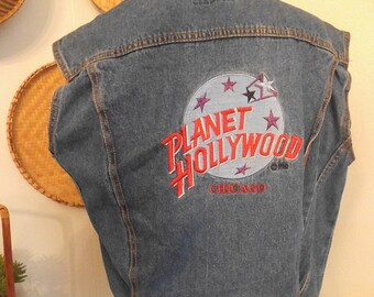 Vintage Planet Hollywood Chicago Denim Jacket Vest ~ Woman's Small to Medium ~ club kid ~ hipster ~ punk