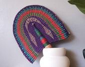 Artisan Ghanaian bolga fan African hand fan with leather handle ornate XL bolga fan Afro bohemian home decor The Adamma fan