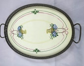 Antique Vanity Tray Art Nouveau Porcelain Tile Hand Painted Floral Baskets Oval Metal Base w Handles 12 x 8 in. Perfume Tray Boudoir Tray