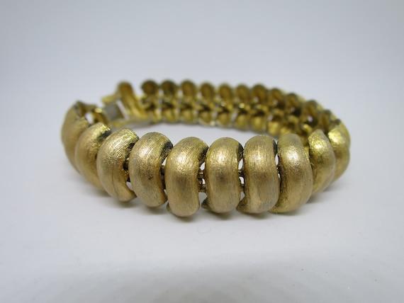 427d88371ae Napier Chunky Gold Bracelet Line Texture Dome Links Mid