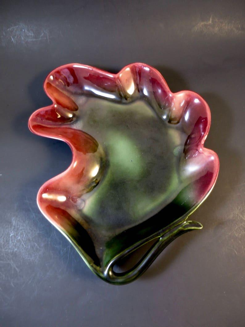 Oak Leaf Bowl Vintage Hull USA Pottery Modern Leaf Shape Dark Green inside Red Glaze Outside 13 x 10.5 inches MCM Centerpiece Bowl
