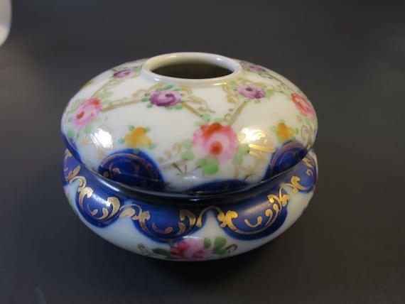 Hand Painted Flowers Cobalt Blue Porcelain Dresser Jar Antique Germany Box