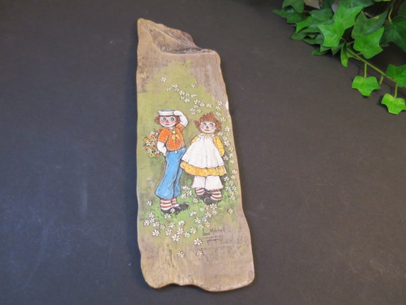 Raggedy Ann /& Andy Plaque 70/'s Joan Mitchell Nifty Drifty 1974 Drift Wood