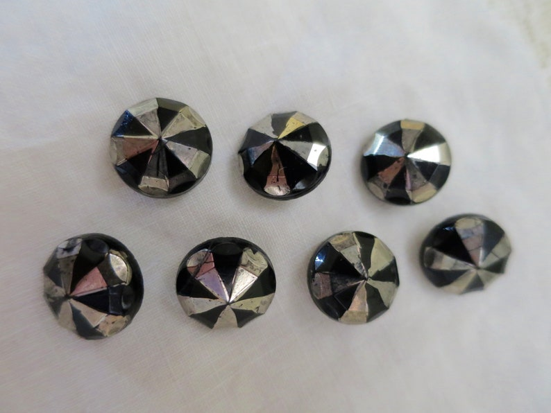 7 Black Glass Buttons Antique Matching Dress Shank Buttons 1900/'s Czech Glass Silver Black DressBlouse Buttons 12 inch