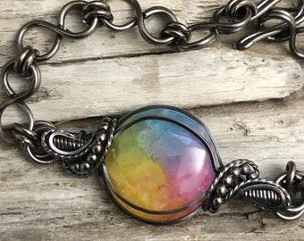 Rainbow Quartz and Copper Link Bracelet