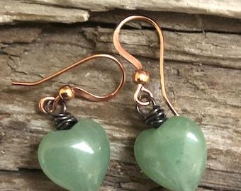 Adventurine Earrings, Adventurine Heart Earrings, Green Heart Earrings