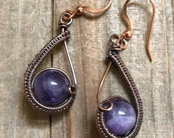 Amethyst Drop Earrings, Gemstone Earrings, Gift for Mom, Wire wrapped Amethyst Earrings, Purple Earrings