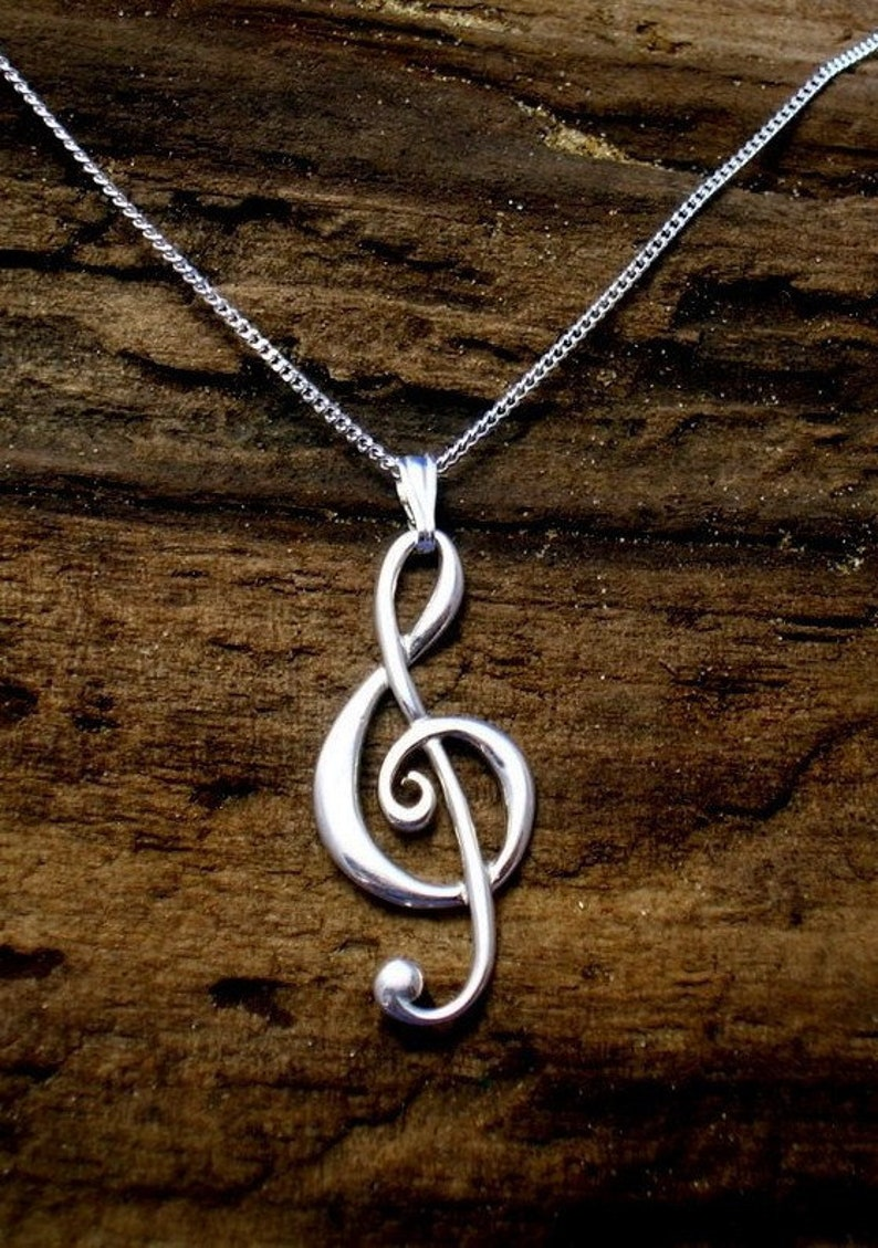 Sterling Silver Jewelry-Music Lover Gift Treble Clef Sterling Pendant