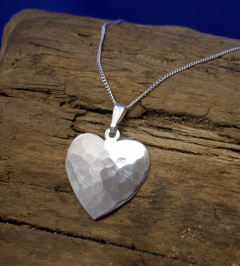 1e496a0fee Heart Pendant Heart Necklace Sterling Silver Handmade | Etsy