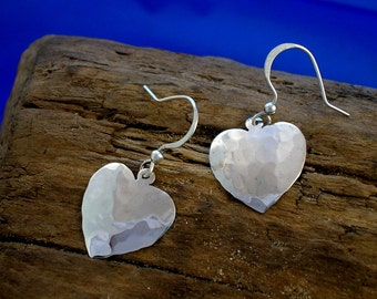 Silver Heart Earrings, Heart Jewellery, Handmade, Hammered Silver, Medium Hearts, Valentine Gifts, Romantic Gift, Planished Silver