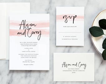 Watercolor Wedding Invitation Suite in Blush with Modern Calligraphy