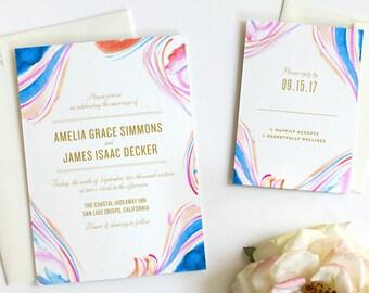 Boho Wedding Invitation, Watercolor Wedding Invitation, Beach Wedding Invitation, Modern Wedding Invitation, Wedding Invitation Set