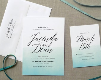 Watercolor Wedding Invitation, Beach Wedding Invitation, Destination Wedding Invitation, Watercolor Invitation, Wedding Invitation Suite