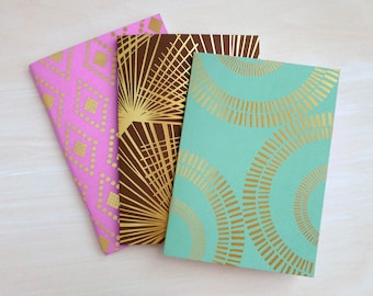 SALE 50% OFF Foil Stamp Pocket Journal Notebook Set