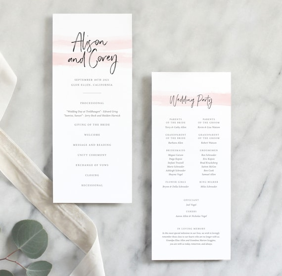 Printed Wedding Ceremony Program Simple Wedding Program Elegant Wedding Program Classic Wedding Program