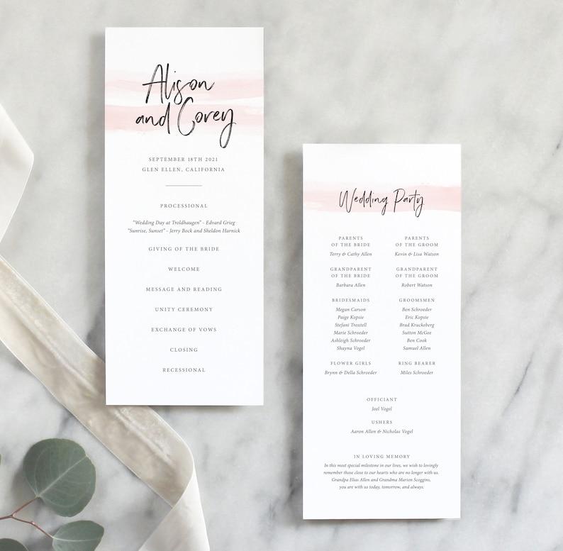 Simple Wedding Program Classic Wedding Program Printed Wedding Ceremony Program Elegant Wedding Program