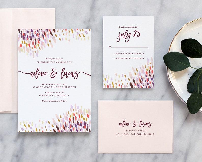 Modern Boho Watercolor Wedding Invitation Wedding Invitation Deposit Payment