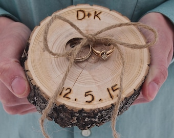 RING Pillow - RUSTIC Ring Bearer Pillow Wood Slice - Personalized - Wood Slice - Country Wedding - Brown
