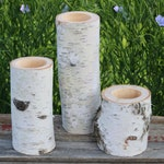 3 WHITE BIRCH Wood Candle Holders - Simple Natural Wedding Decor - The Flower Patch - Candle Holder