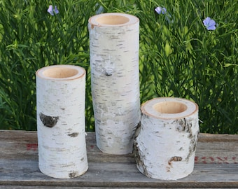 3 White Birch Wood Candle Holders, Wood Candle Holders, Wedding Table Candles, Christmas Candle Holders, Table Piece Centerpiece