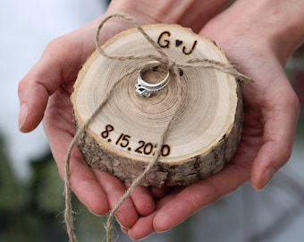 Ring Pillow, Ring Bearer Pillow, Rustic Wood Slice, Personalized, Wood Slice, Country Wedding