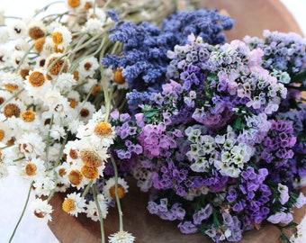 Dried Flower Bunches, Dry Flower Bouquet, DIY Wedding Bouquet, Purple Bouquet, Statice, Everlasting Wings, Salvia
