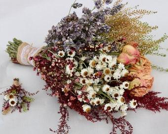 Meadow Dry Flower Bouquet, Boutonniere, Wedding Bouquet, Dried Flower Bouquet, Peonies